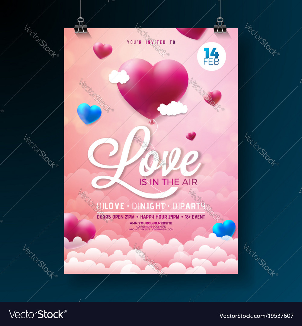 Valentines Day Party Flyer Design With Royalty Free Vector