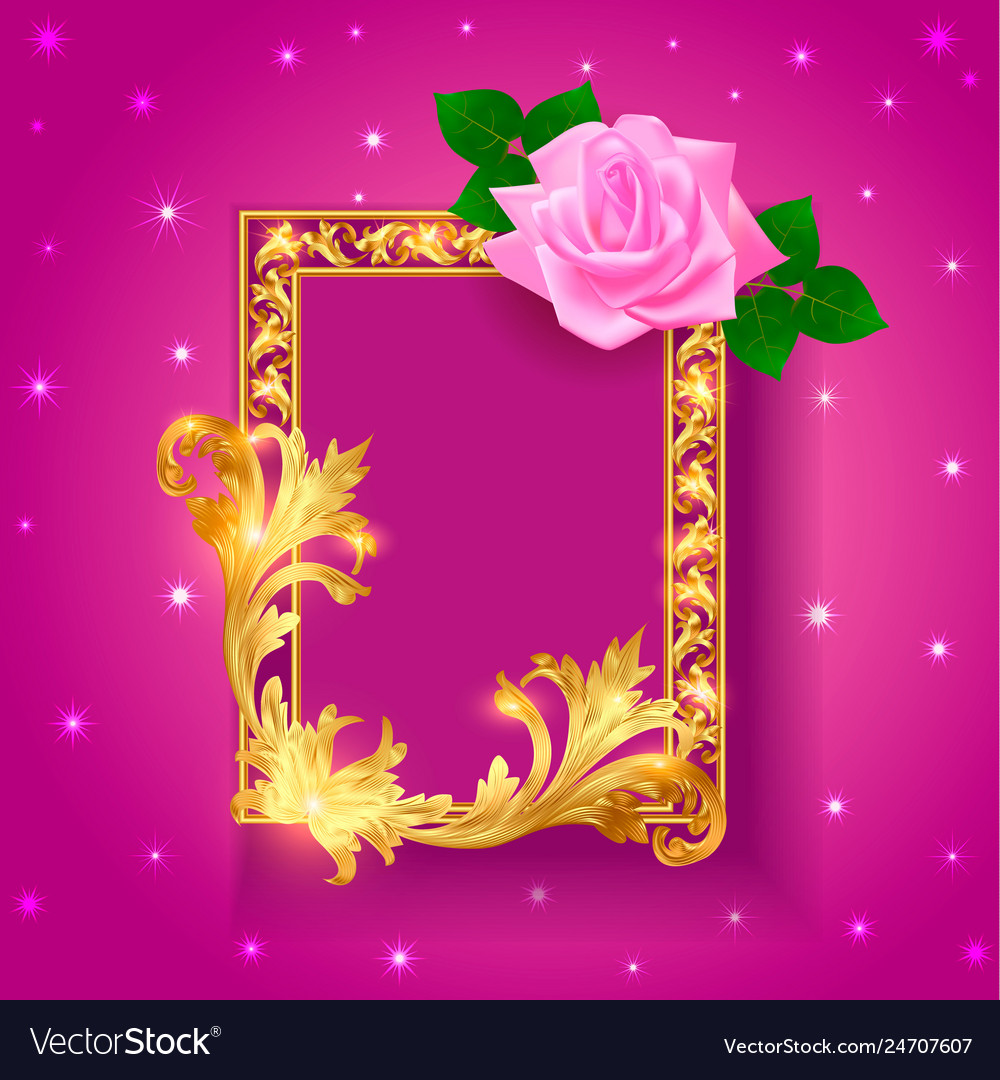 Vintage background frame with rose and gold