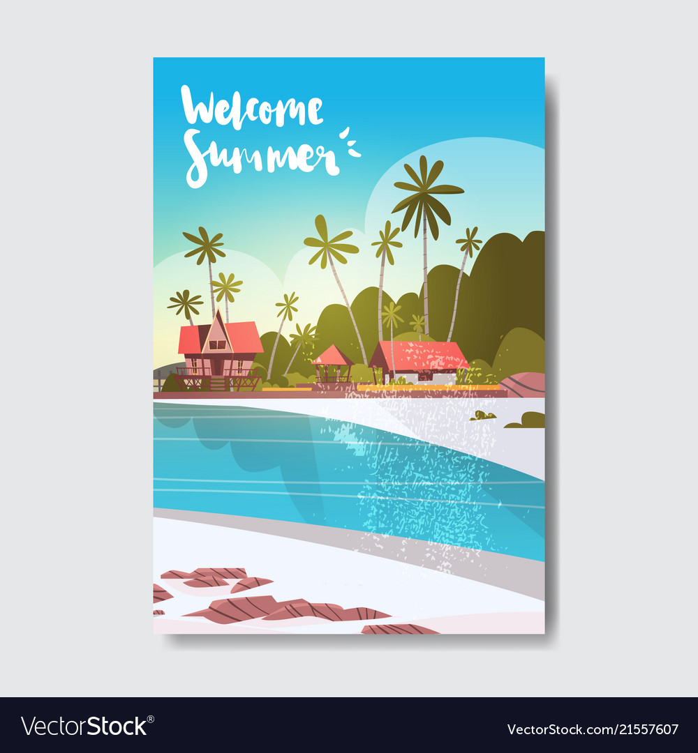 Welcome summer house hotel palm tree sunrise beach