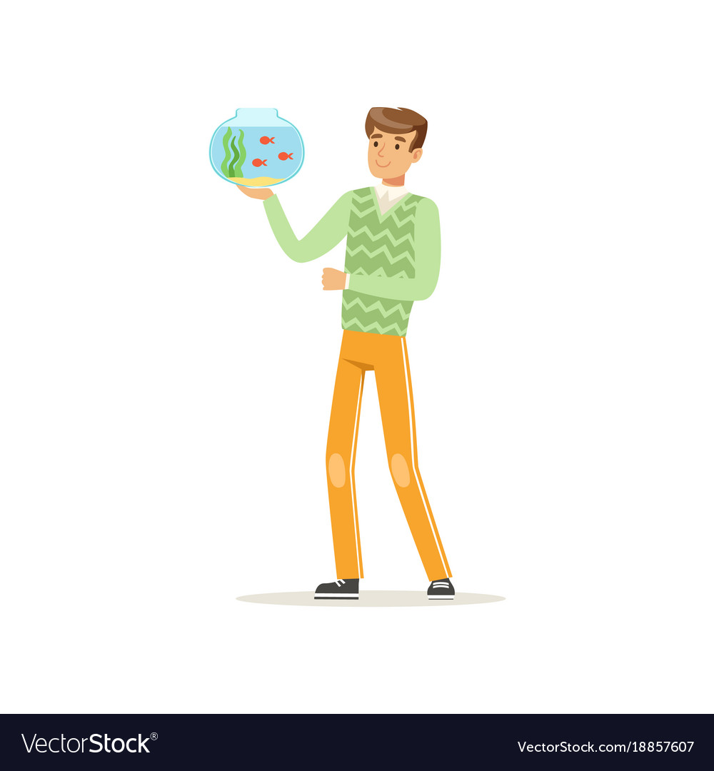 Young man holding glass bowl aquarium with fishes vector image
