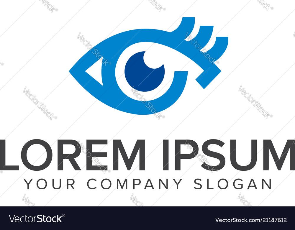 Blue eye logo design concept template