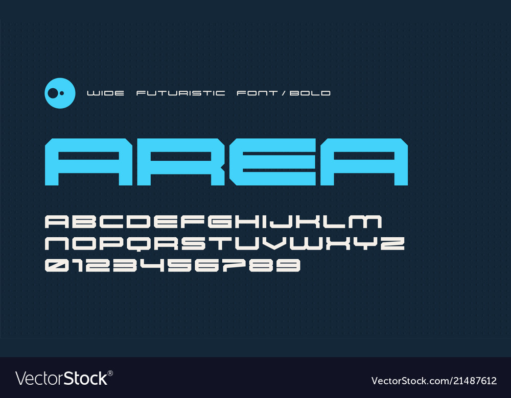 Bold futuristic display font modern wide