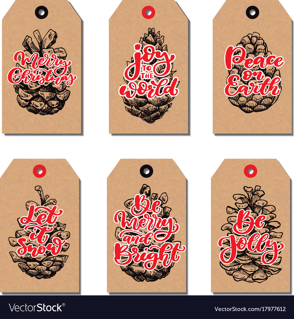 Christmas vintage gift tags set with pine cone and