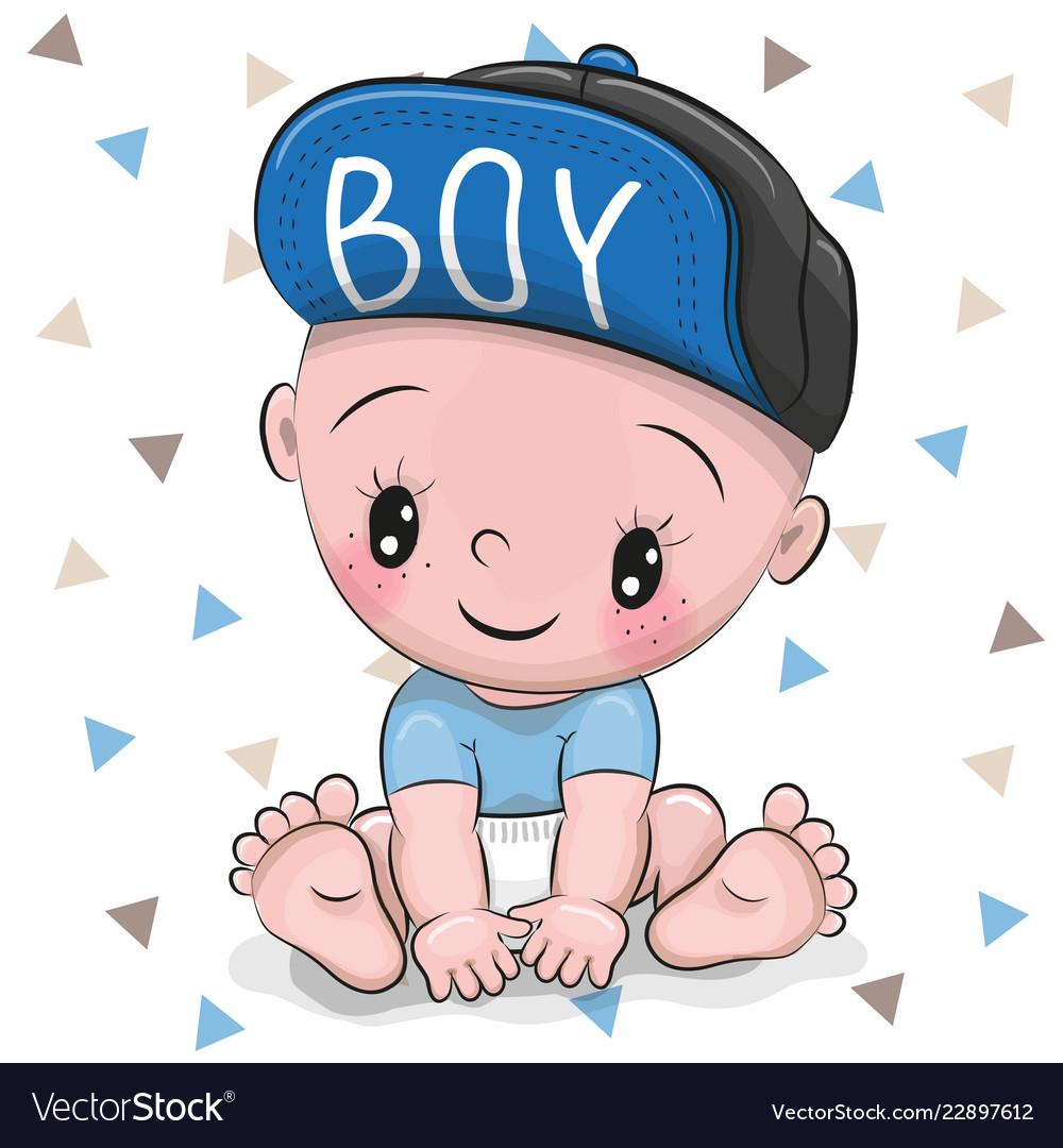 Cute Cartoon Baby Boy In A Cap Royalty Free Vector Image