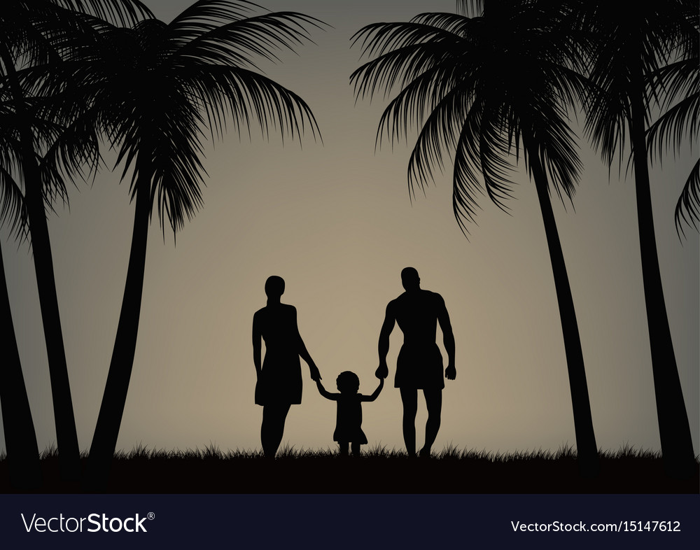 Father mother and daughter on the beach
