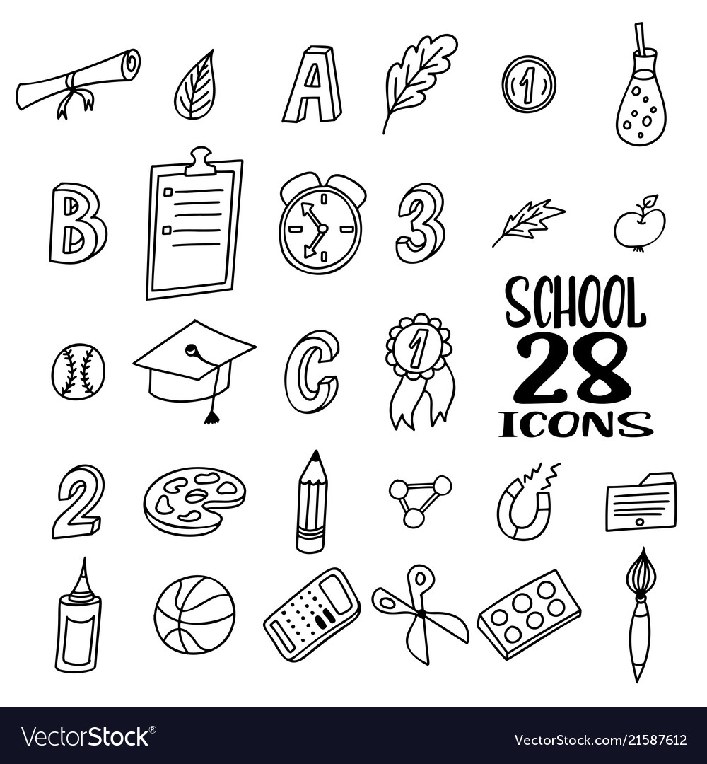 Hand drawn doodle school objects concept of