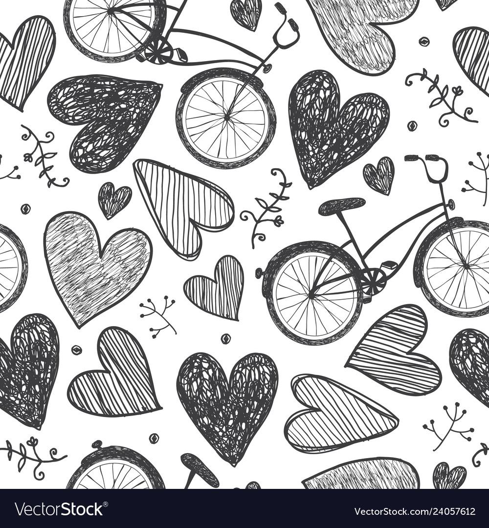 Hand drawn romantic seamless pattern
