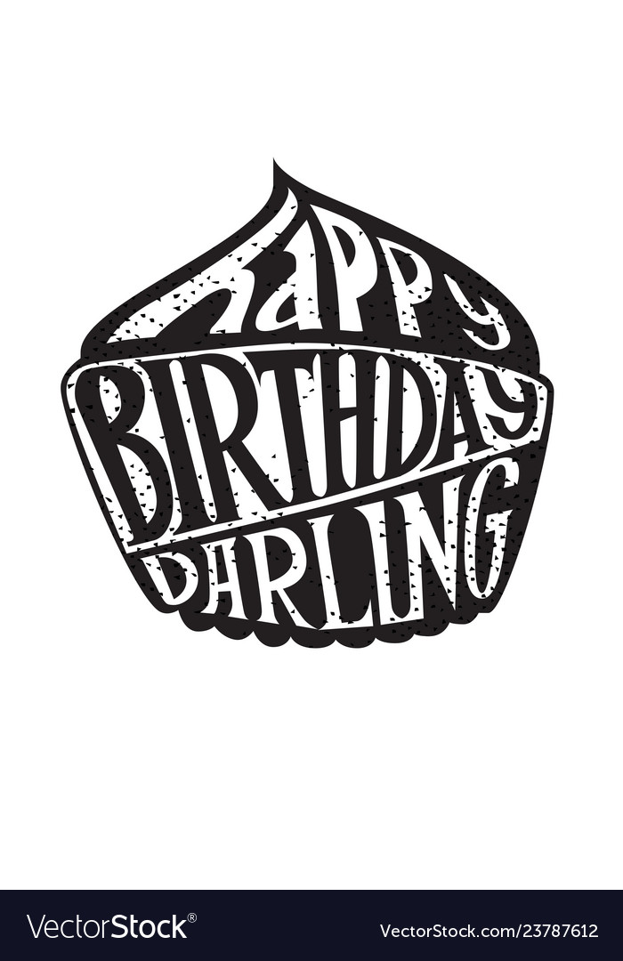 Happy birthday darling lettering banner
