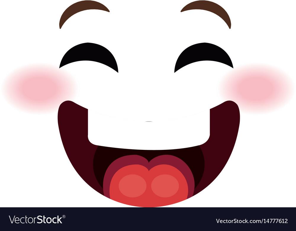 Happy face emoticon kawaii style