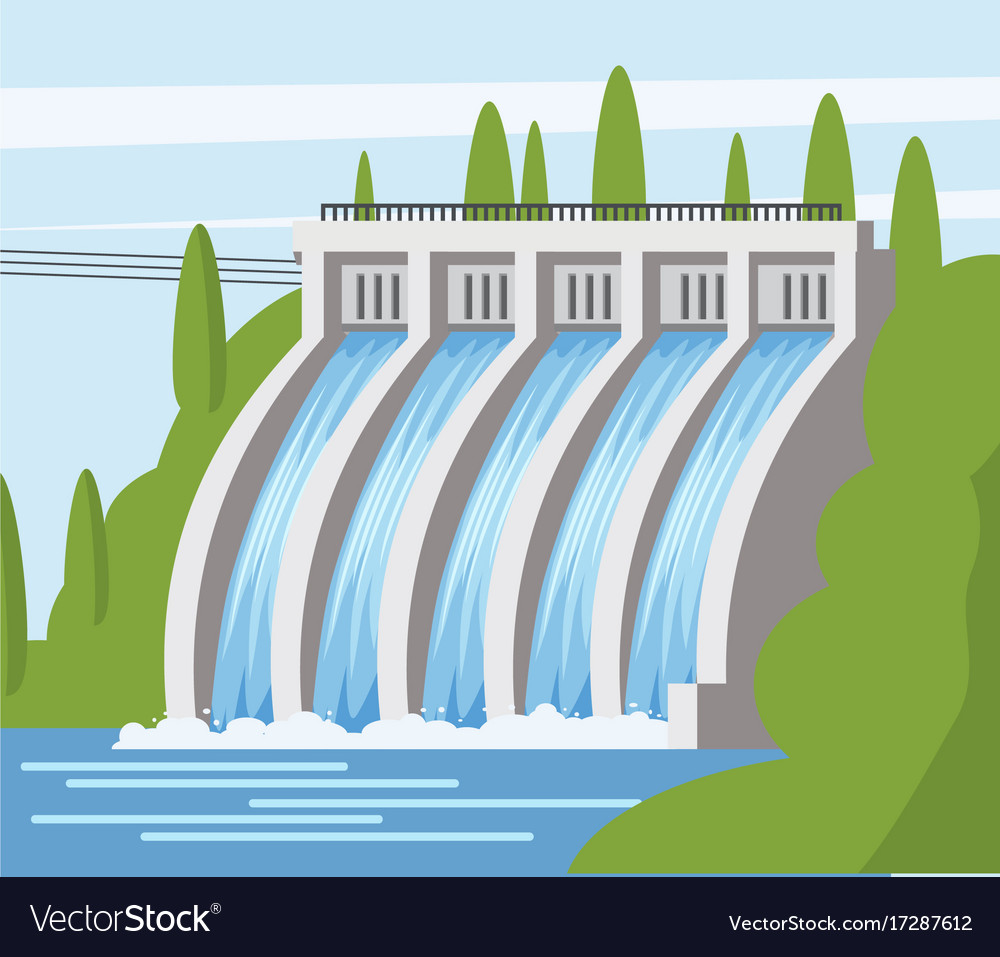 Hydroelectric power station icon cartoon style Vector Image