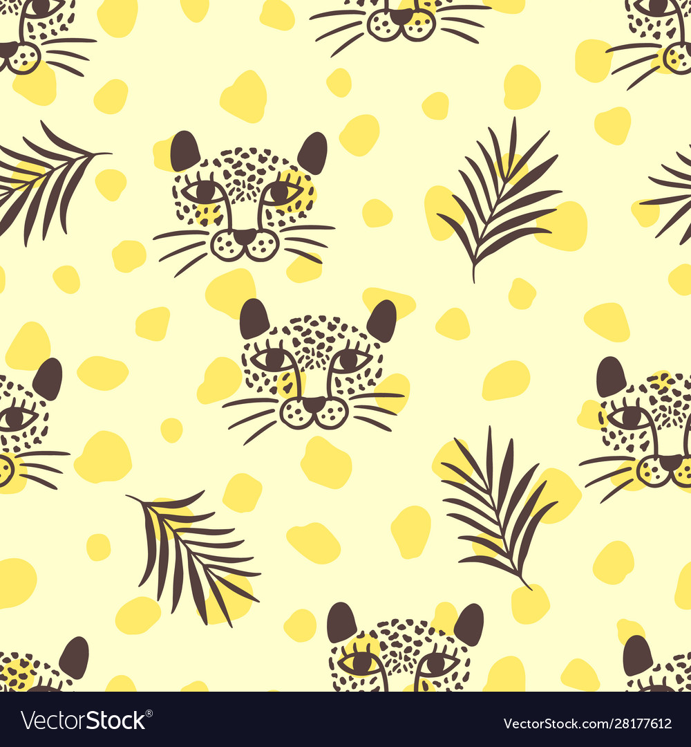 Leopard head and tropical leaves pattern
