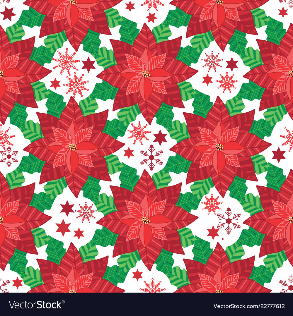 Red poinsettia seamless pattern background