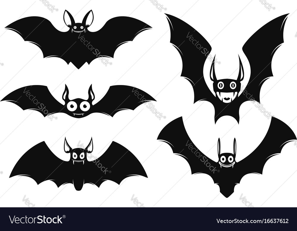 Set of halloween bat icons monster bats