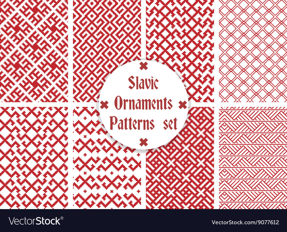 Slavic ornaments patterns set