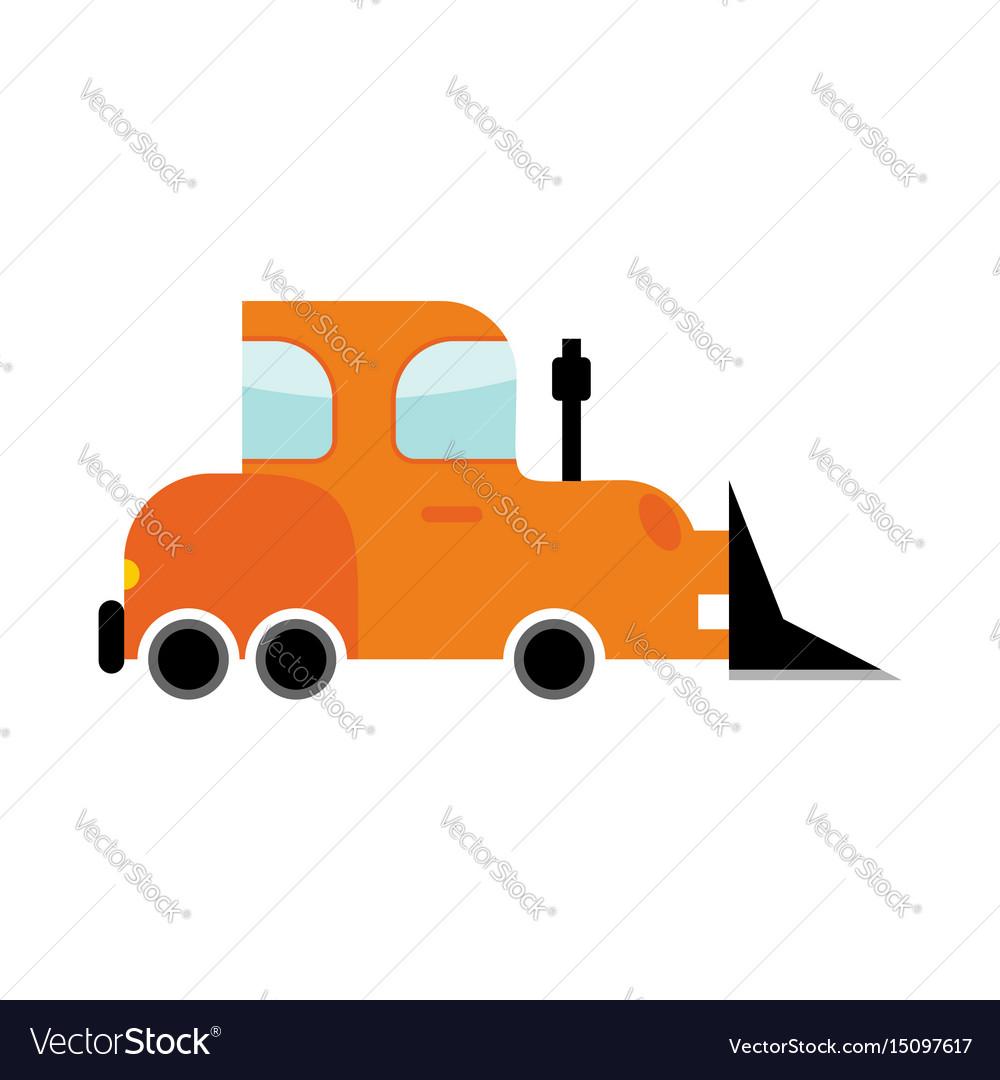 Bulldozer isolated transport on white background