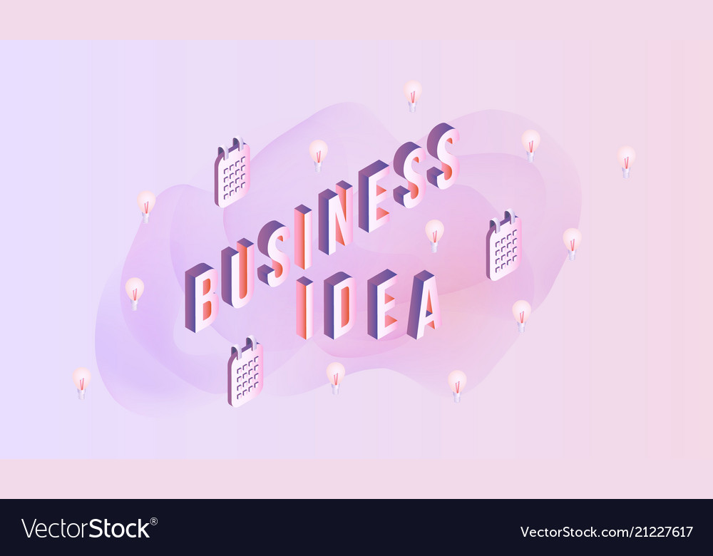 Business idea sign design - isometric letters and