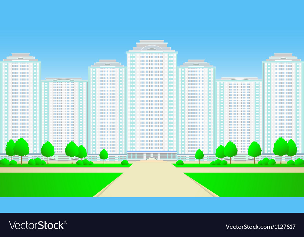 City skyscrapers with roadtree and grass