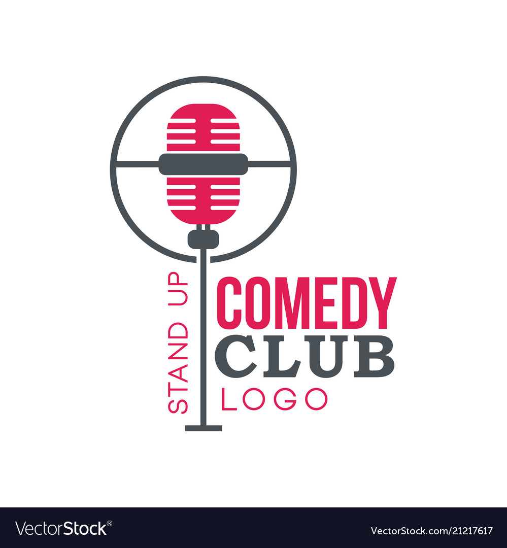 Comedy club stand up logo with retro microphone