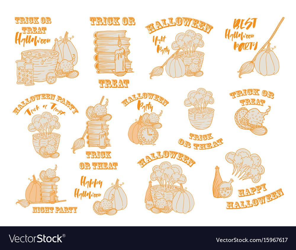 Halloween witch accessories doodle set vector image