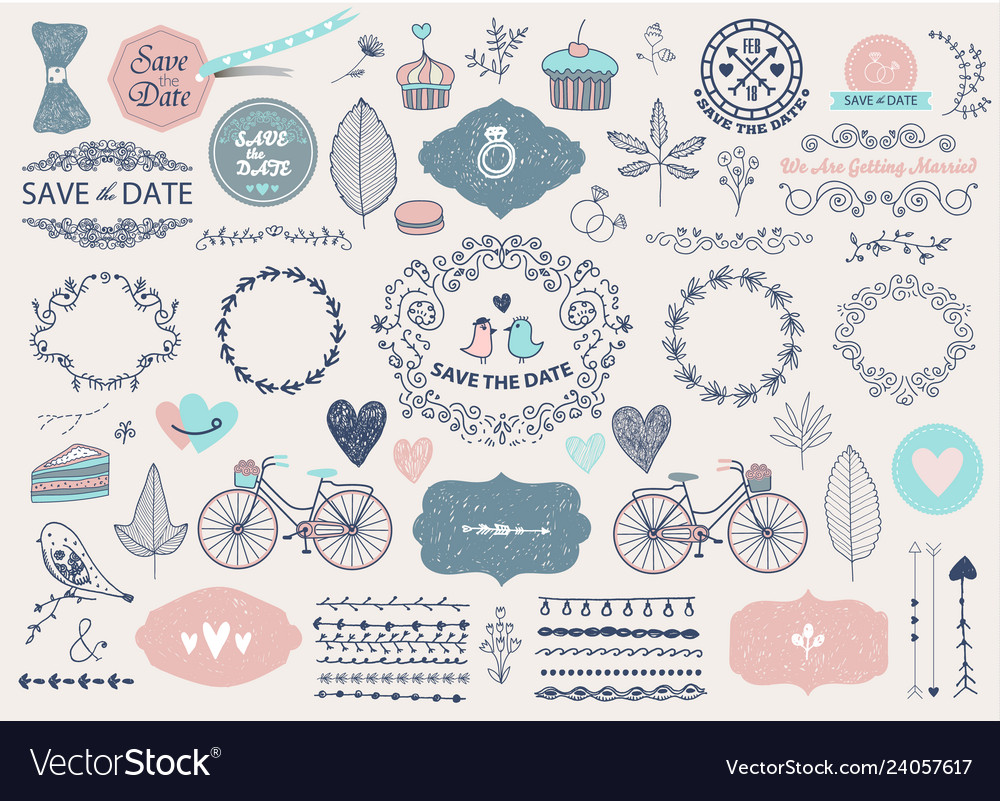 Hand drawn doodle love collection vector