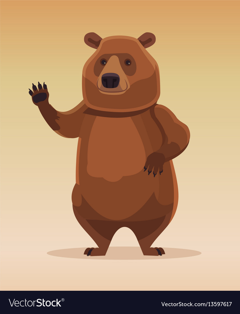 Happy kind friendly bear character welcomes