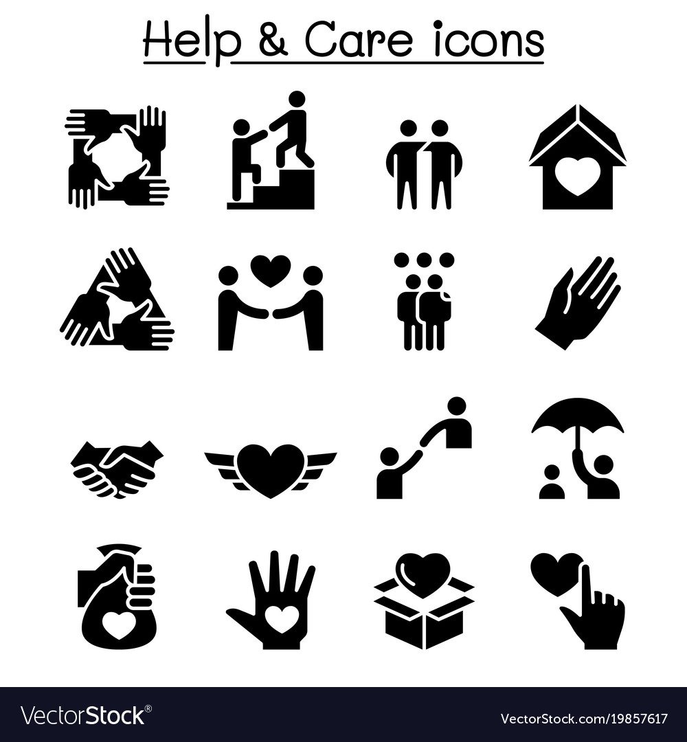 Help care friendship generous charity icon set
