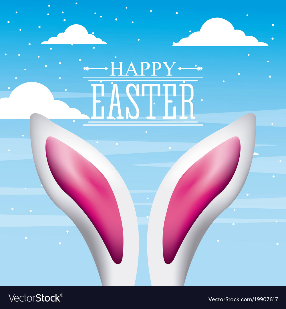 Pink and white ears rabbit card the happy easter