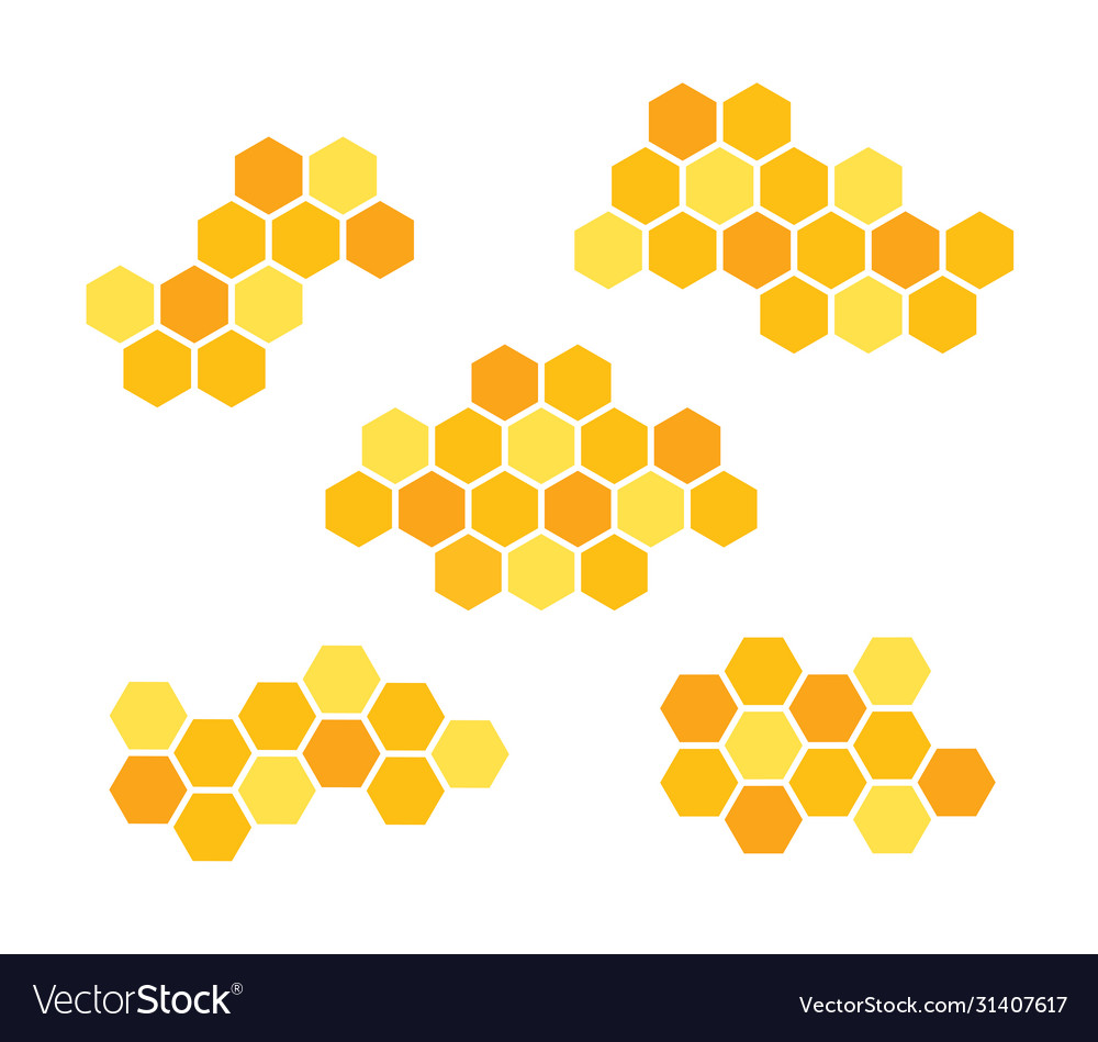 Set icons honeycomb isolated vector