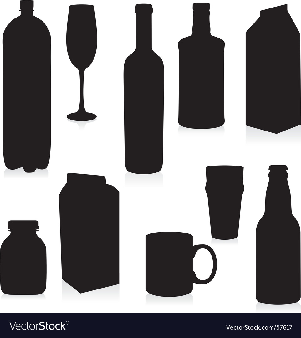Silhouettes drink containers
