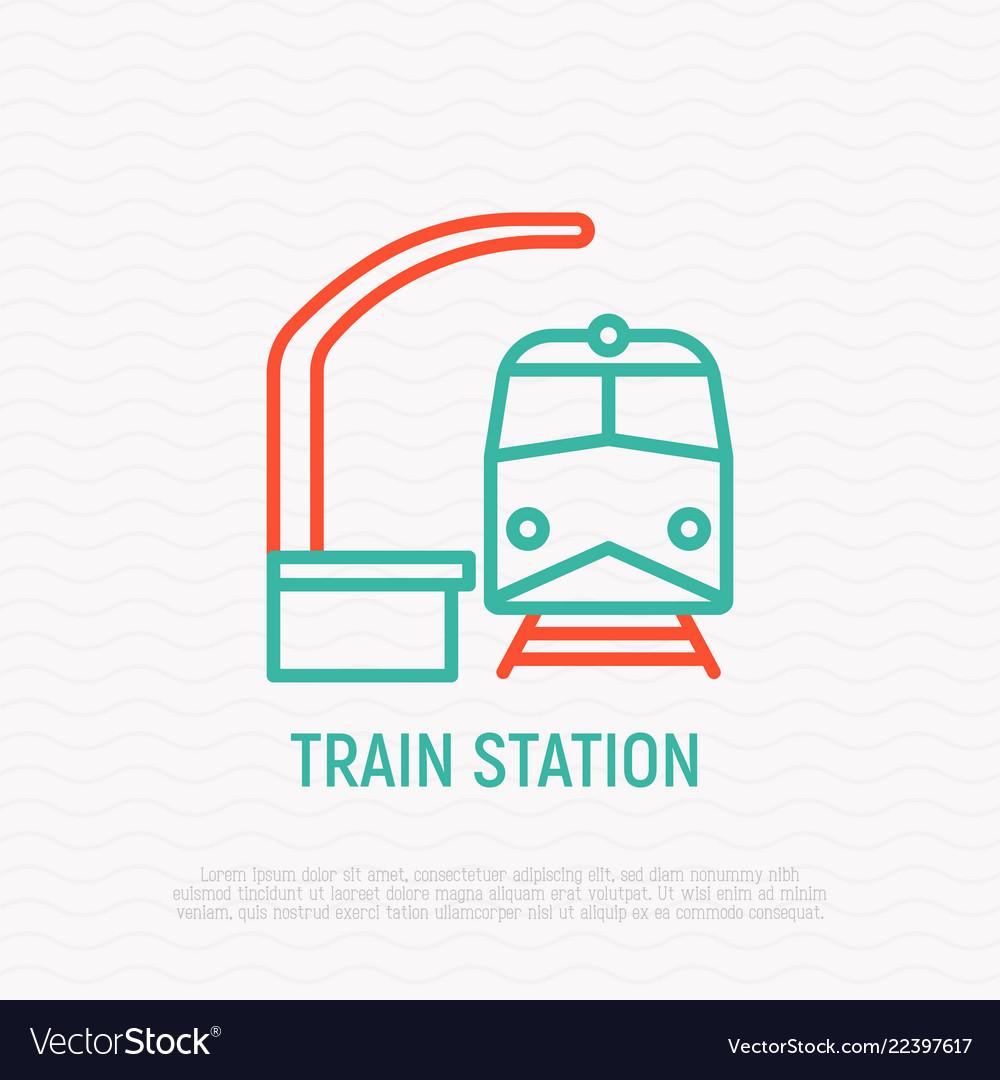 Train station thin line icon