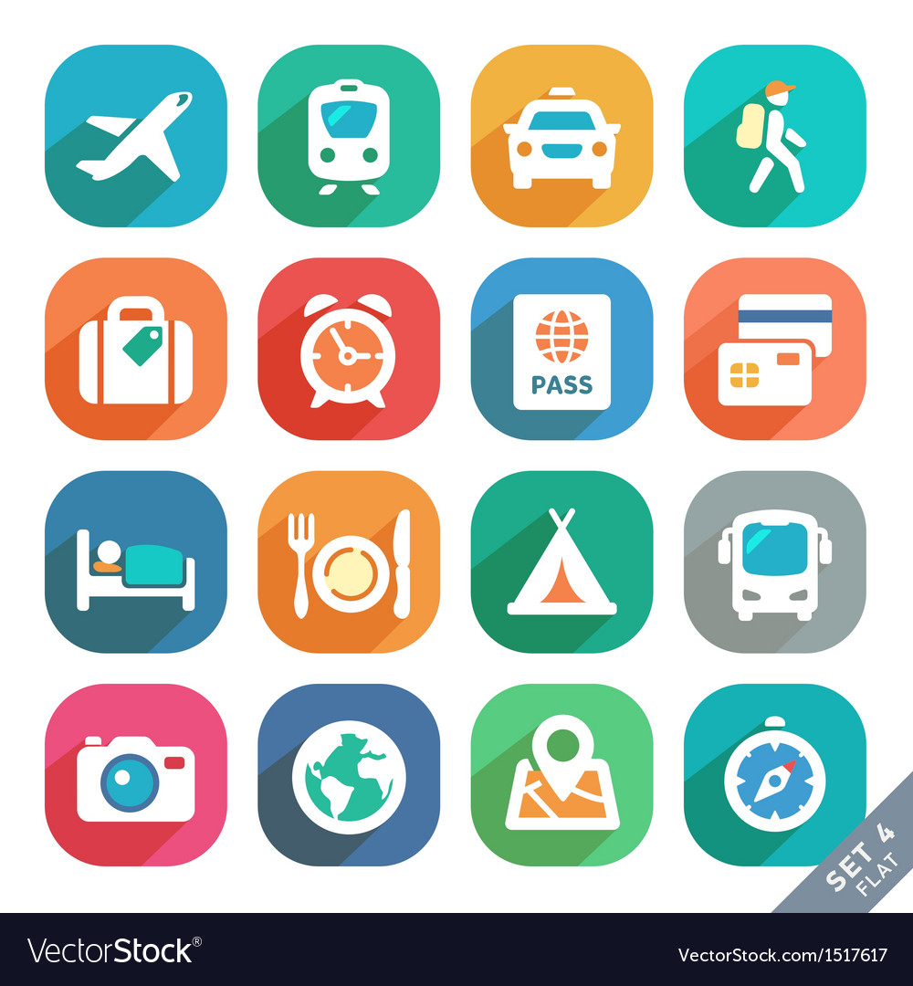 Traveling and transport Flat icons