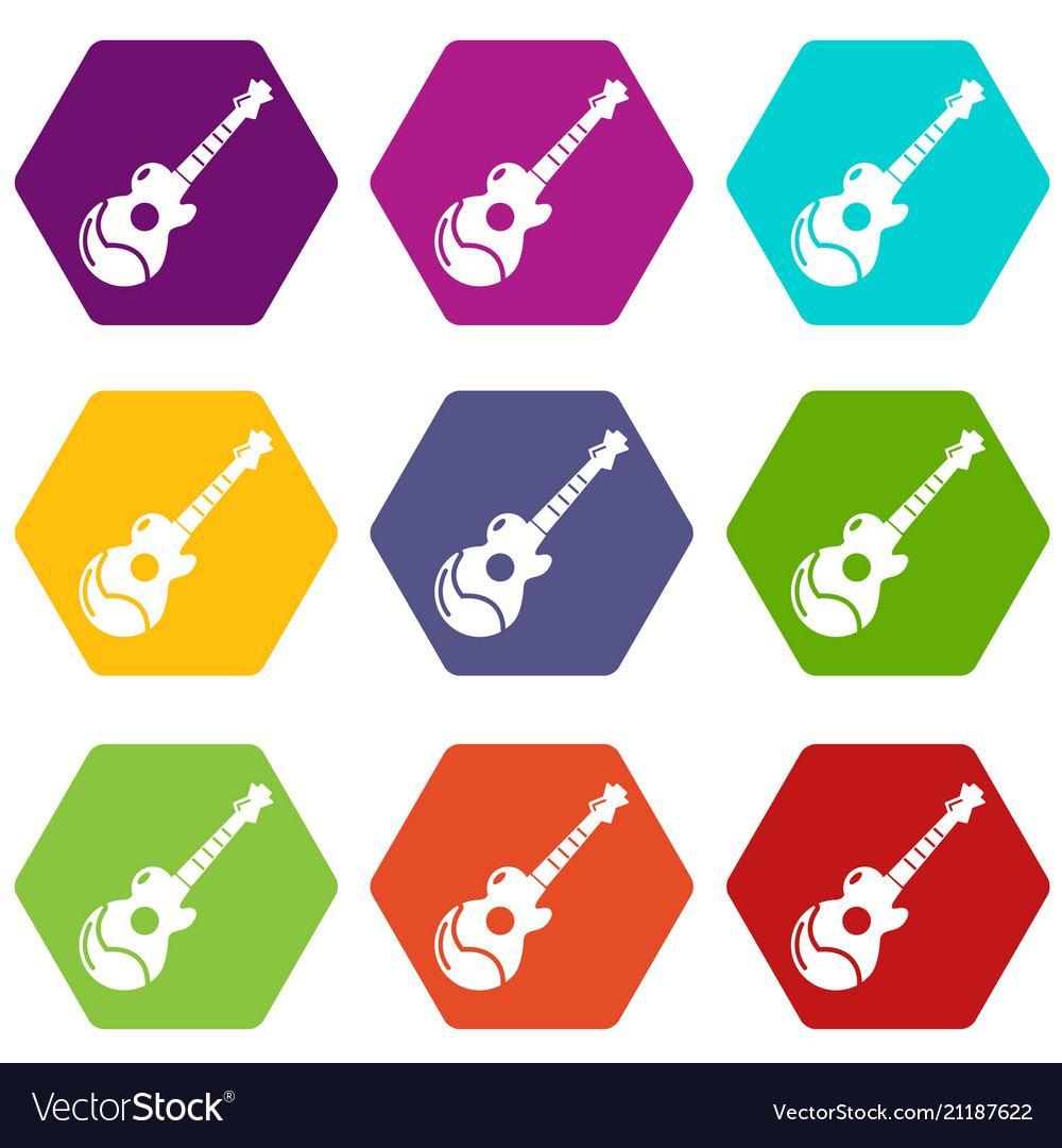 Acoustic guitar icons set 9