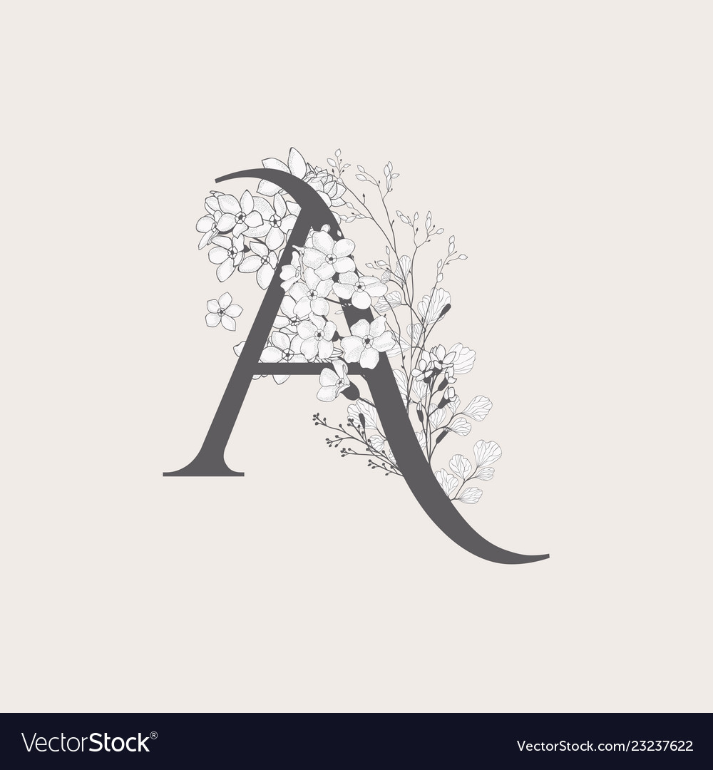 Blooming floral initial a monogram and logo