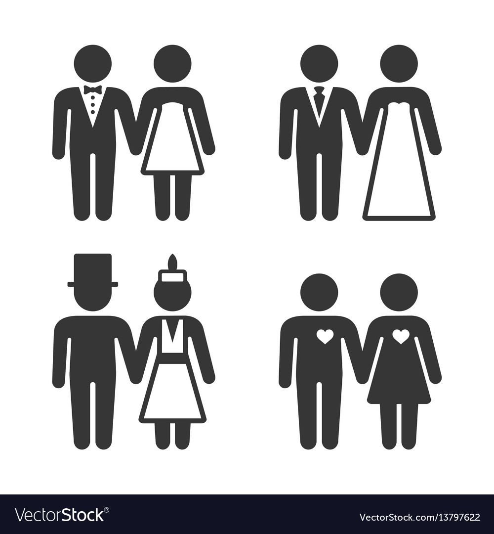 Couple getting married icons set