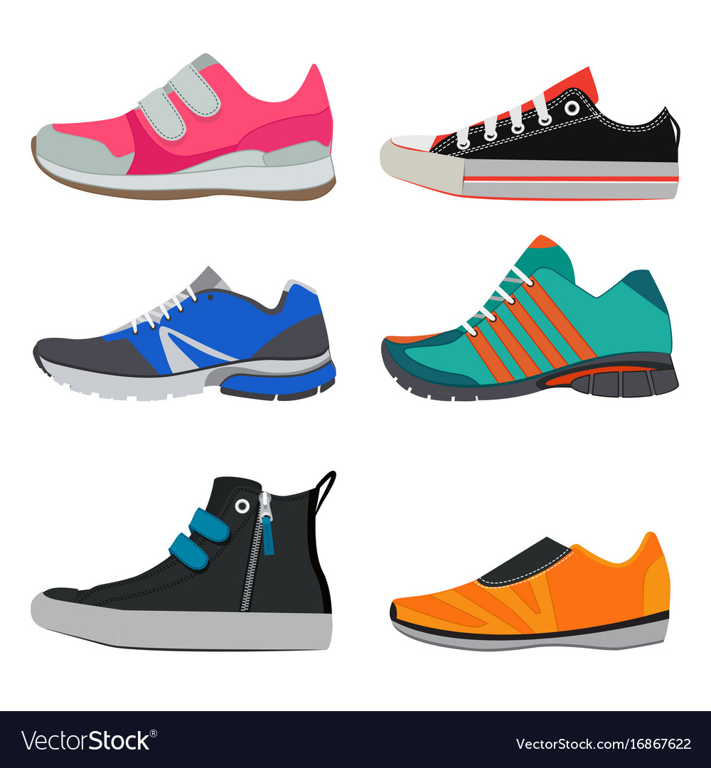 Fashion pictures of different sport sneakers