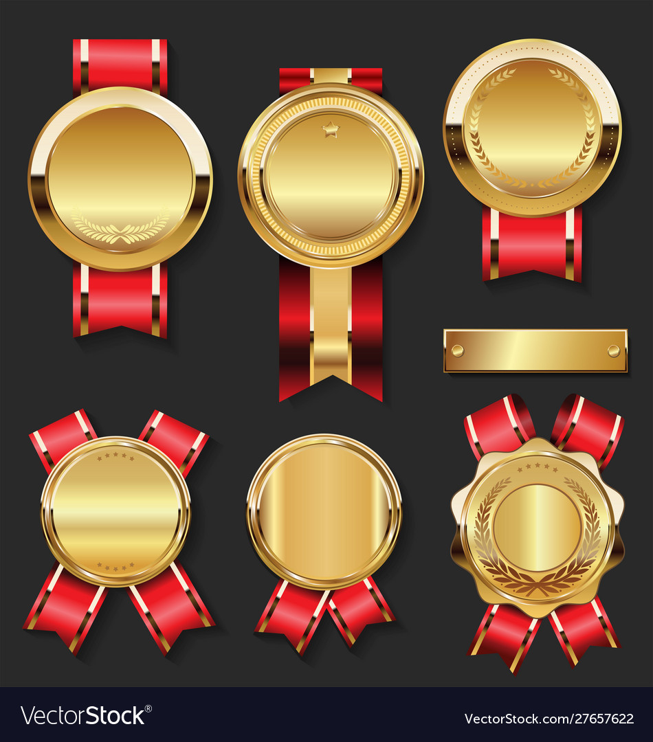 Gold medal with red ribbons collection 1
