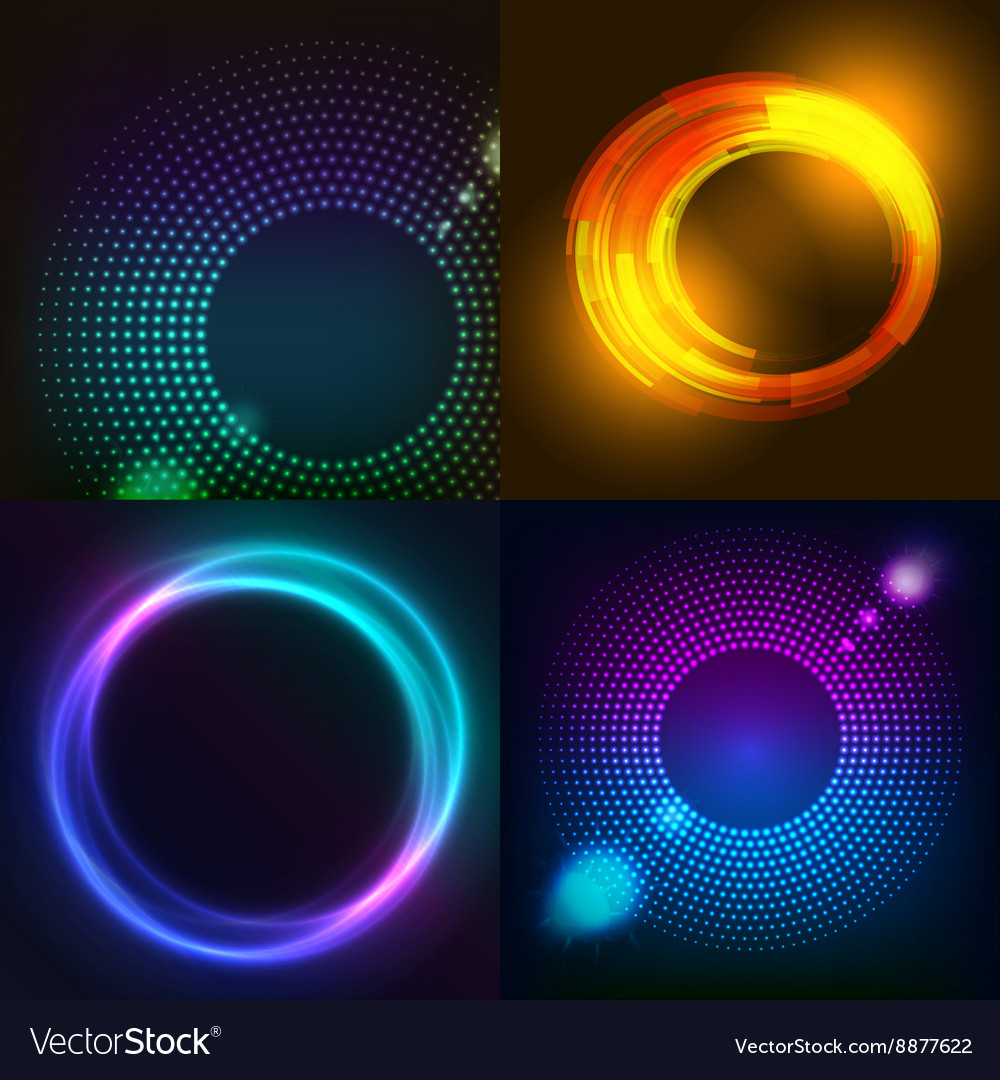 Huge set of glowing rounds with glitter Abstract
