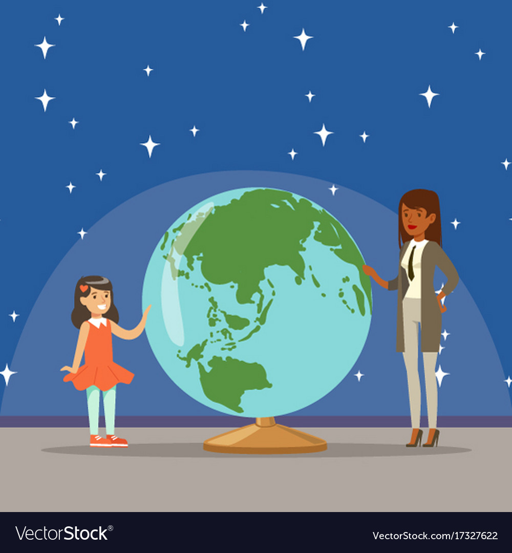 Mother telling her daughter about earth planet at vector image