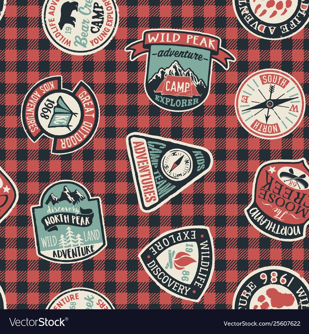 Mountain exploring adventure badges collection