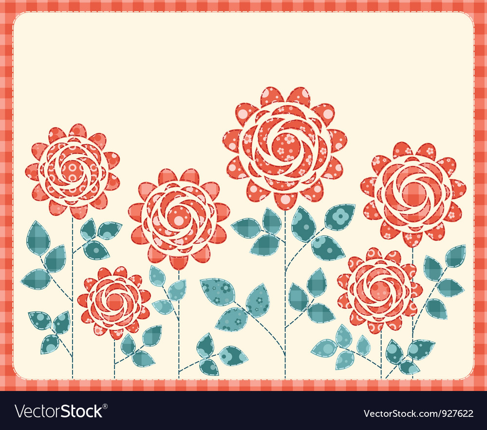 Patchwork roses card vector image
