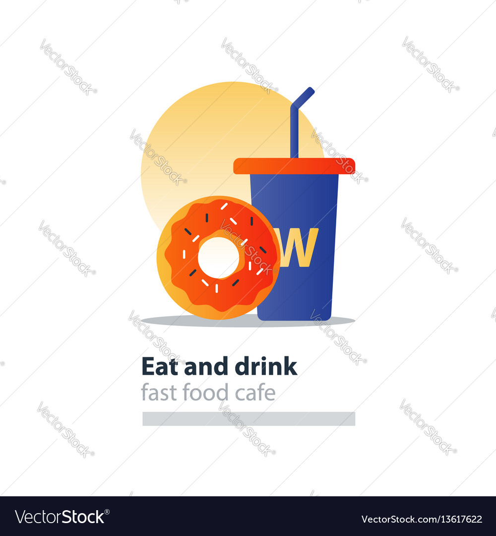 Red donut and blue tumbler glass with straw fast
