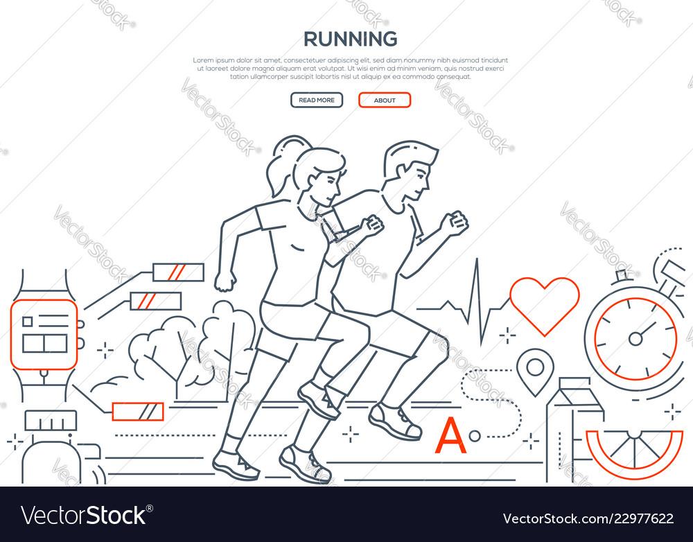 Running - modern line design style web banner