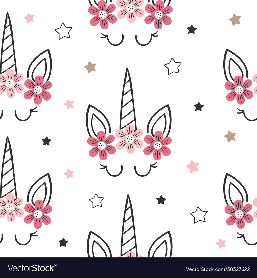 Seamless pattern with unicorn face and cloud
