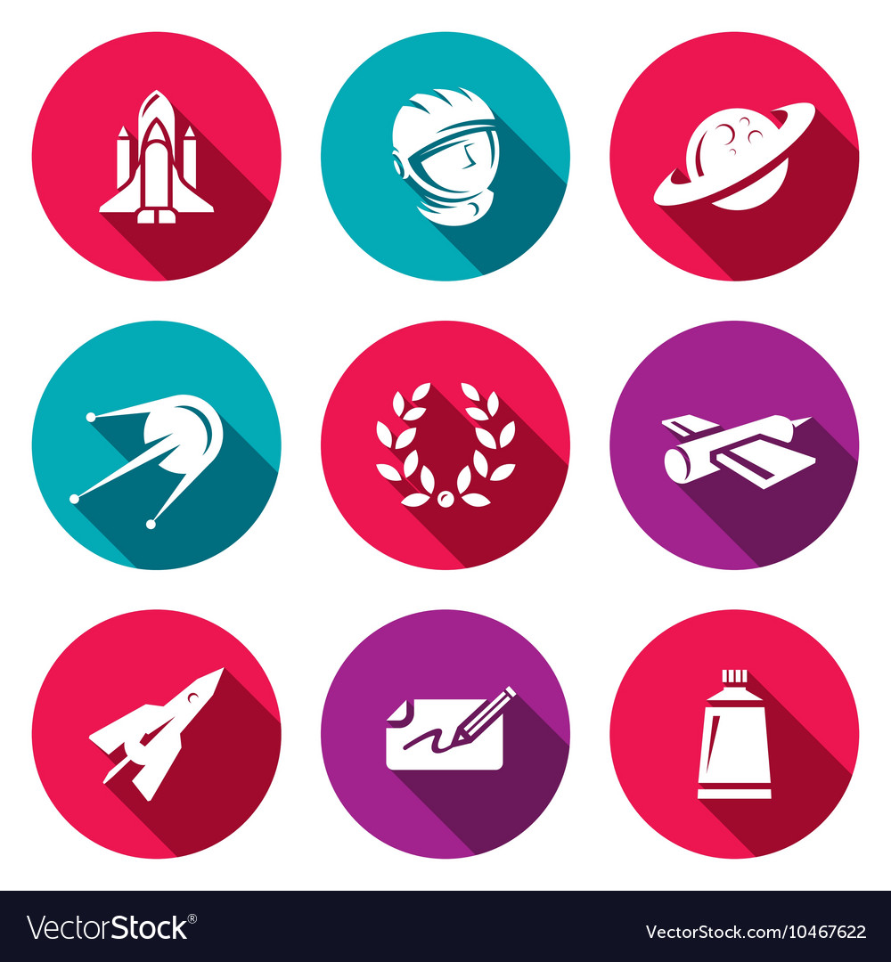 Set of A Space Flight Icons Spaceport