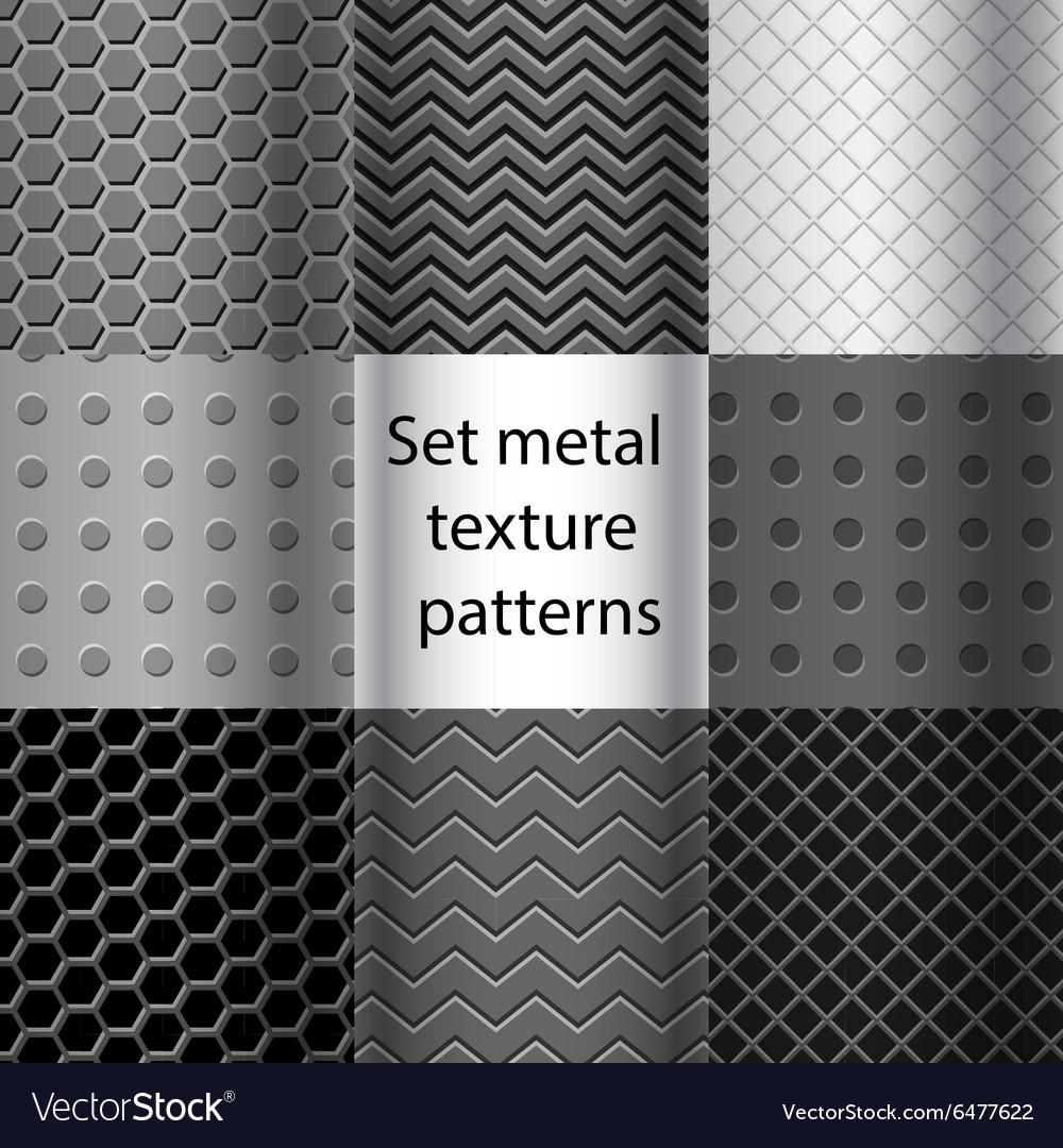 Set of metal texture seamless patterns