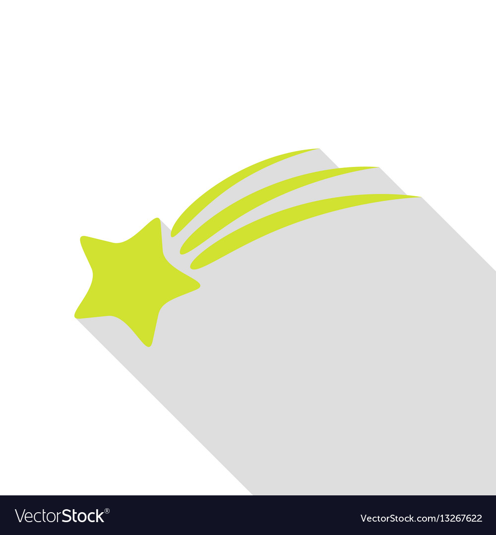 Shooting star sign pear icon with flat style