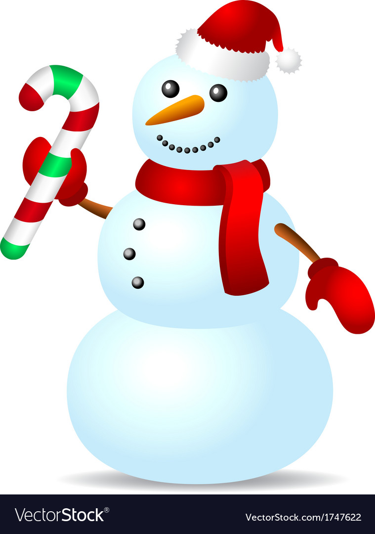 Traditional snowman with candy cane vector image