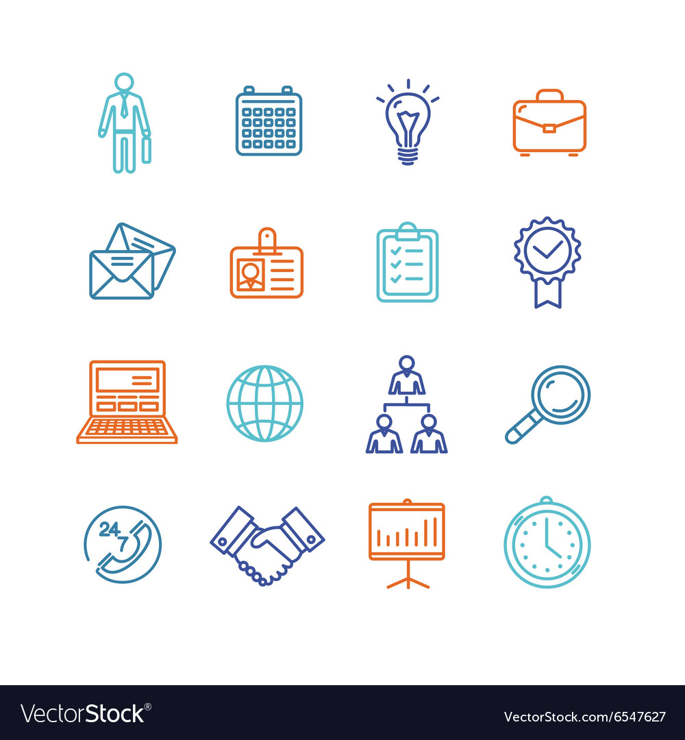 Business Outline Colorful Icons Set vector image