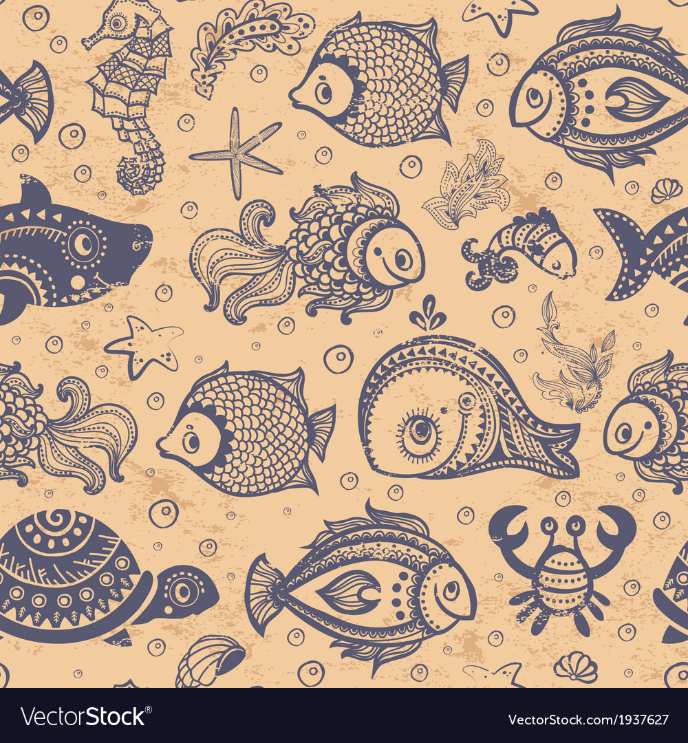 Fish and shells seamless