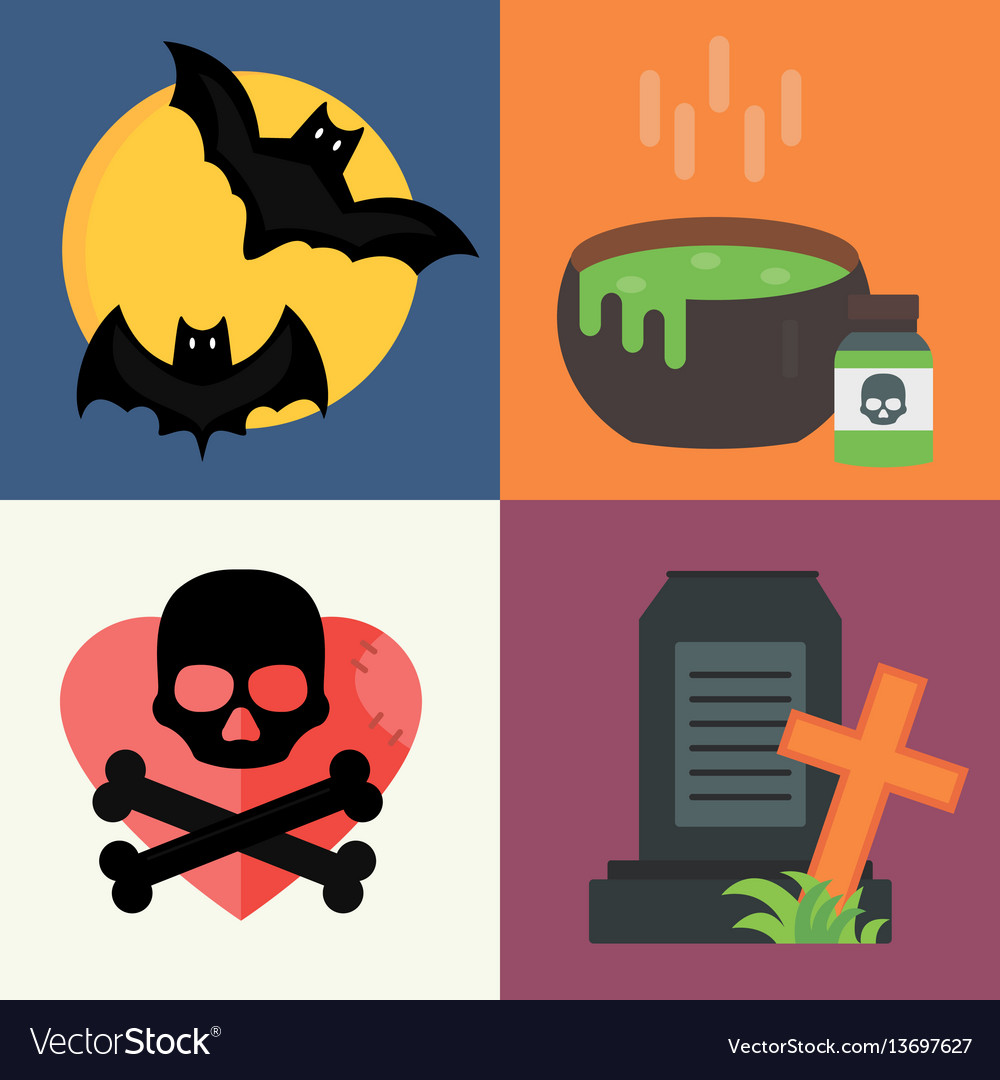 Halloween icons set traditional trick or